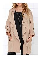 Fold Over Collar  Loose Fitting  Plain Trench Coat