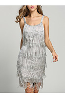 Spaghetti Strap  Fringe  Plain Shift Dress