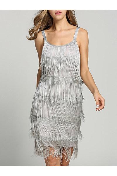 Spaghetti Strap  Fringe  Plain Shift Dress