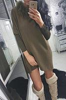 Faux Fur Collar  Patchwork Casual Dresses