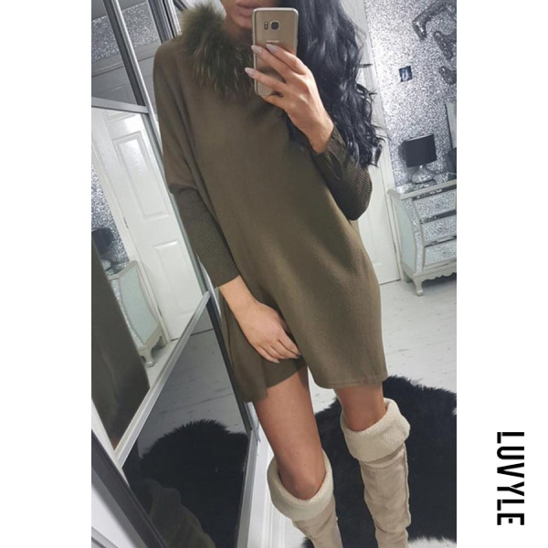 Army Green Faux Fur Collar Patchwork Casual Dresses Army Green Faux Fur Collar Patchwork Casual Dresses