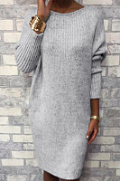 Casual solid color knit dress