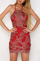 Spaghetti Strap Embroidery Party Dresses
