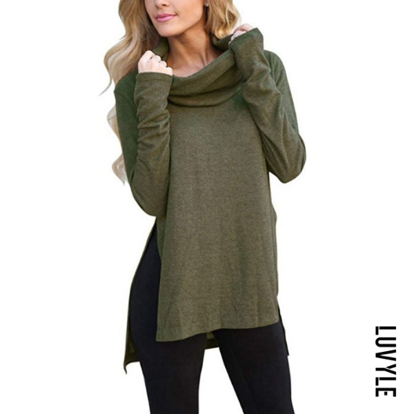 Army Green Cowl Neck Asymmetric Hem Plain T-Shirts Army Green Cowl Neck Asymmetric Hem Plain T-Shirts
