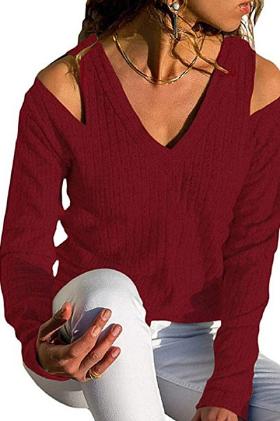 V Neck  Plain Sweaters