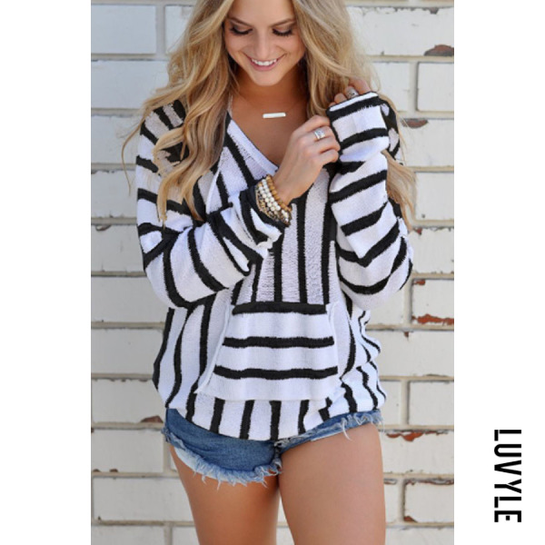 Black V Neck Kangaroo Pocket Striped Hoodies Black V Neck Kangaroo Pocket Striped Hoodies