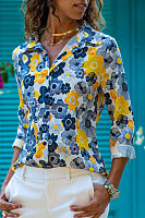 A Lapel Long Sleeve Floral Blouse
