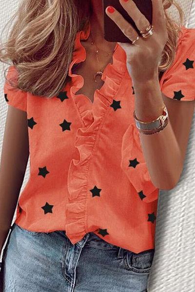 Ruffle Neckline Short Sleeve Star Blouse