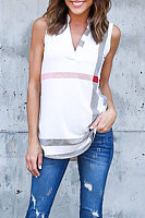V Neck  Asymmetric Hem  Striped T-Shirts