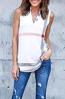 V Neck  Asymmetric Hem  Striped T-Shirts