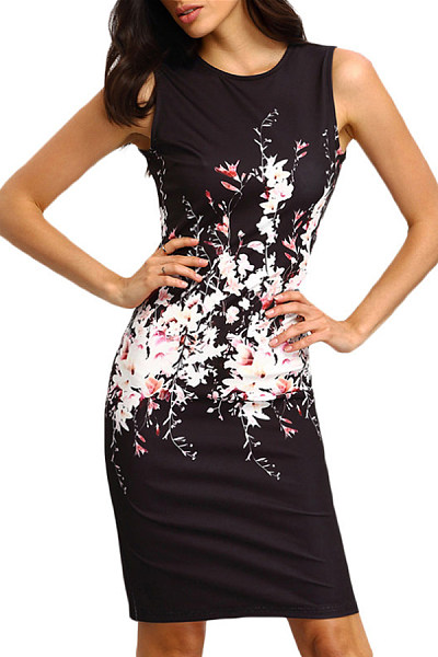 Round Neck  Floral  Sleeveless Bodycon Dresses