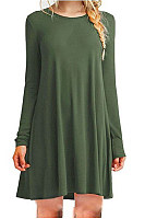 Round Neck Long Sleeve Plain Dress