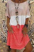 Colorblock Printed Short-sleeved Mini Dress