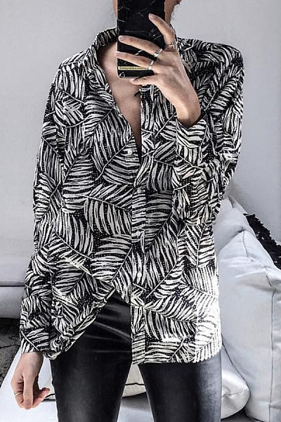 Casual Printed Long Sleeve Blouse