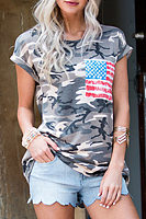 Camouflage Round Neck Stitching Flag Pocket T-Shirt
