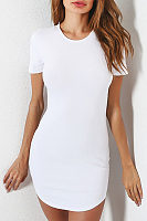 Round Neck  Curved Hem  Plain Bodycon Dresses