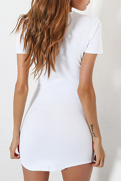 Round Neck  Curved Hem  Plain Bodycon Dresses