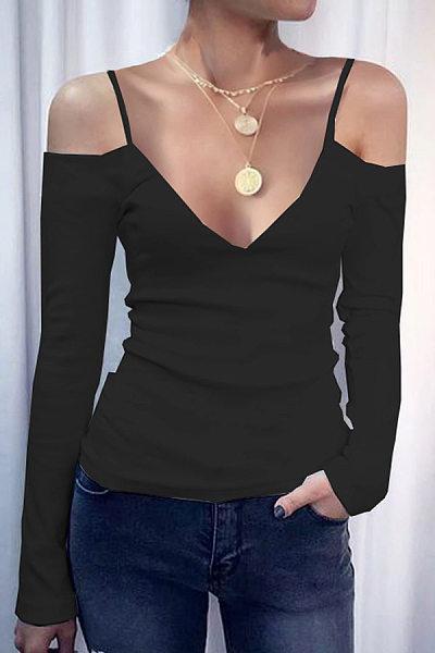 Sexy V-Neck Strap T-Shirt