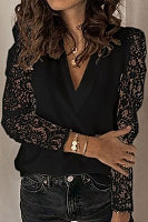 V Neck Lace Sleeve Casual Blouse