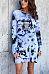 Round Neck  Backless  Tie Dye  Long Sleeve Casual Dresses