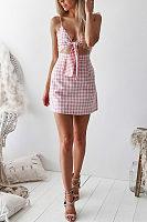 Spaghetti Strap  Bowknot  Exposed Navel  Gingham  Sleeveless Casual Dresses