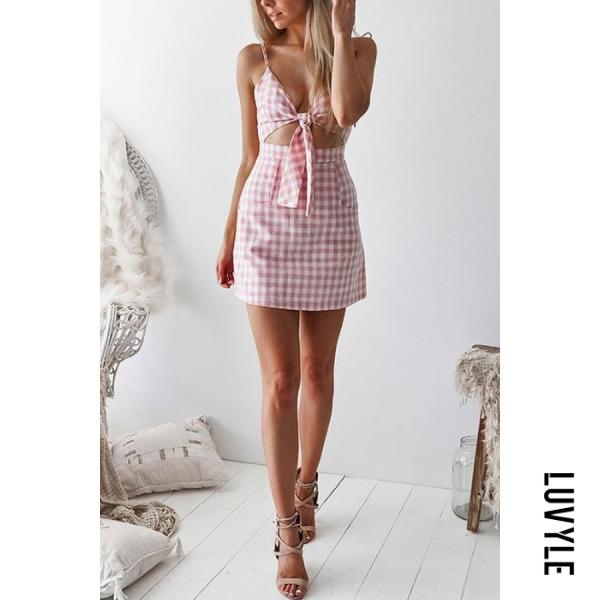 Pink Spaghetti Strap Bowknot Exposed Navel Gingham Sleeveless Casual Dresses Pink Spaghetti Strap Bowknot Exposed Navel Gingham Sleeveless Casual Dresses