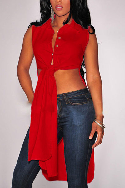 Turn Down Collar  Asymmetric Hem  Plain Camis