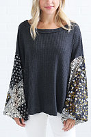 Round Neck  Loose Fitting  Patchwork Sweaters