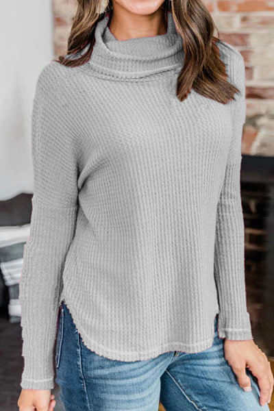 Heap Collar  Plain  Long Sleeve Sweaters