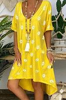 Cotton V Neck Irregular Daisy Print Mini Dress