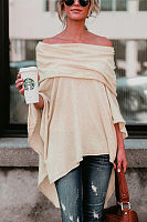 Off Shoulder Plain High-Low Cape Sleeve T-Shirt