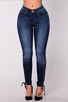 Cutout  Removable Tie  Plain Jeans