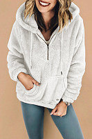 Hooded  Zipper  Plain Basic  Outerwear