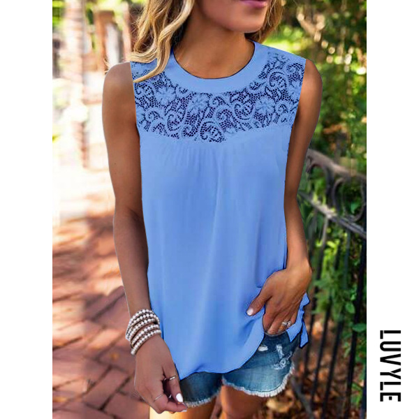 Blue Casual Lace Collage Sleeveless T-Shirt Blue Casual Lace Collage Sleeveless T-Shirt
