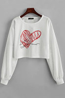Round Neck Long Sleeve Heart Hoodies