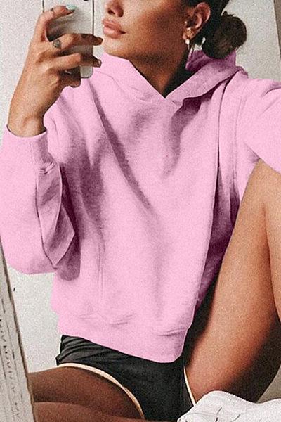 Streetwear Hat Collar Women Pure Color Sweatshirt