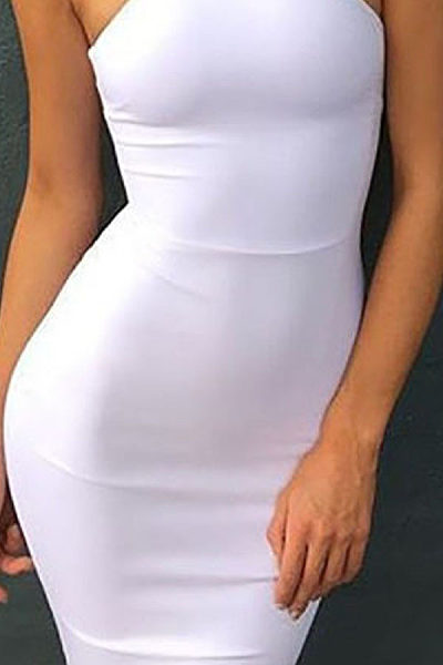 High Neck Open Shoulder  Plain  Sleeveless Bodycon Dresses