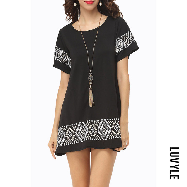 Black Round Neck Printed Casual Dresses Black Round Neck Printed Casual Dresses