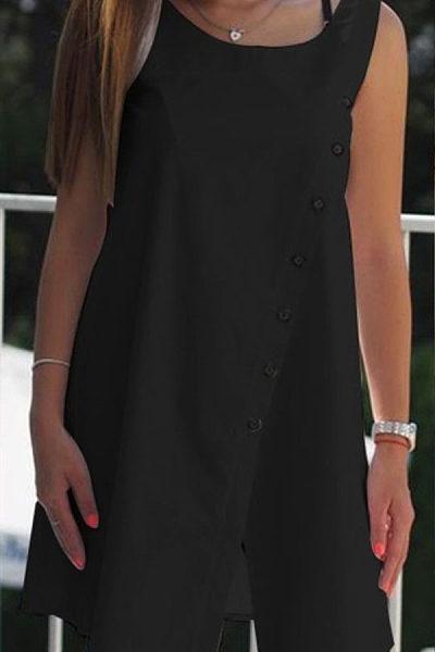 Casual Sleeveless Round Neck Mid-Length Button Loose Asymmetrical Top