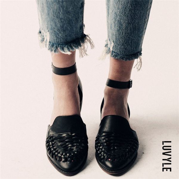 Black Ladies Fashion Casual Low Heel Hollow Buckle Sandals Shoes Black Ladies Fashion Casual Low Heel Hollow Buckle Sandals Shoes