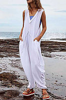 Women's Simple Solid Color V-Neck Sleeveless Jumpsuit