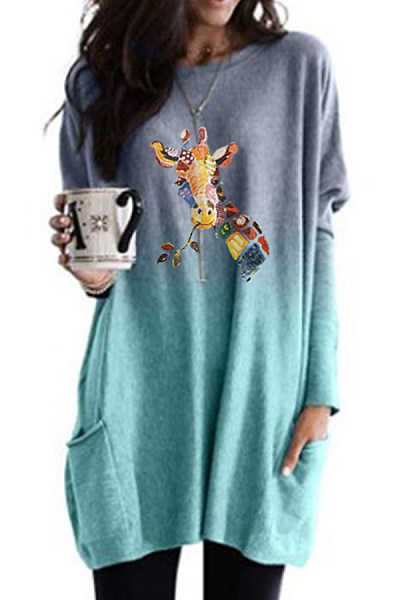 Fashion Color Deer Print Gradient Long-sleeved T-shirt