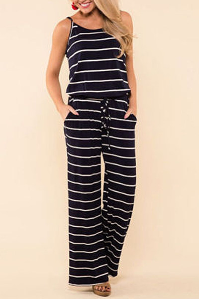 Spaghetti Strap  Striped  Sleeveless Jumpsuits