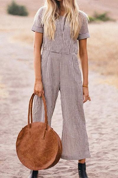 Round Neck  Striped  Short Sleeve Jumpsuits