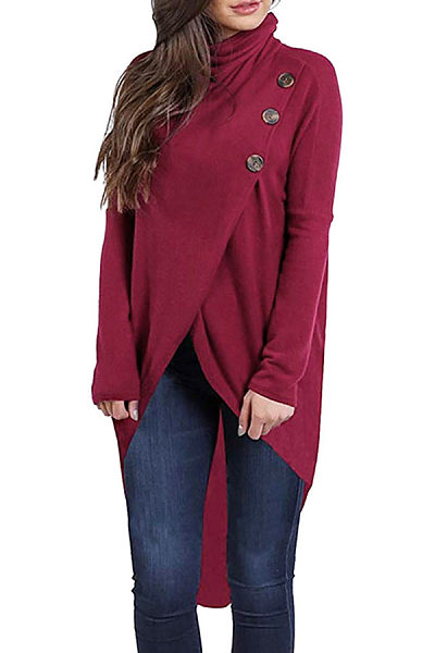 Turtle Neck Button Asymmetrical Hem Long Sleeve T-Shirts