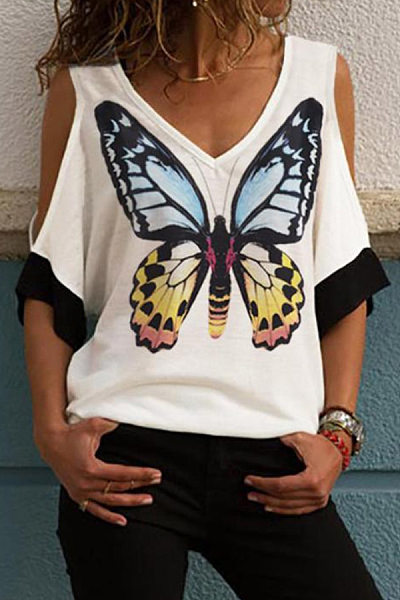 Casual Off-The-Shoulder Printed T-Shirt