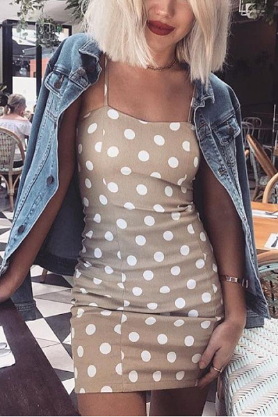Spaghetti Strap  Dot  Sleeveless Bodycon Dresses