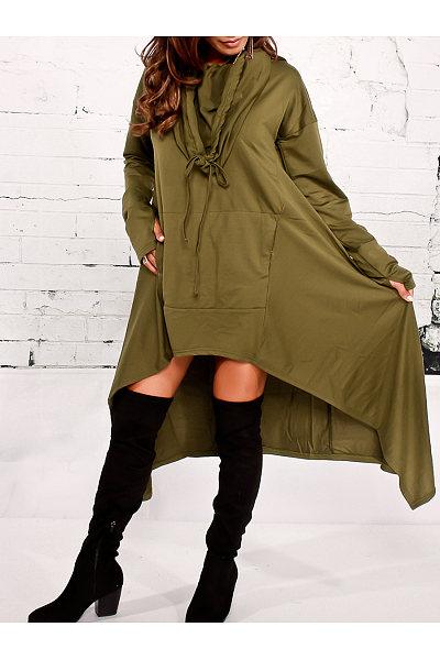 Hooded Plain High-Low Kangaroo Pocket Maxi Dress