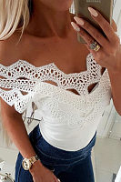 Sexy Lace Split Joint Plain Slim Off Shoulder Top