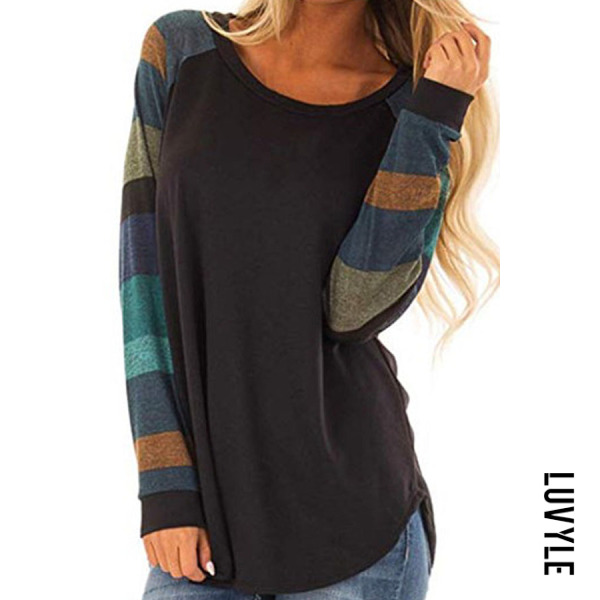 Black Round Neck Patchwork Stripes Long Sleeve T-Shirts Black Round Neck Patchwork Stripes Long Sleeve T-Shirts